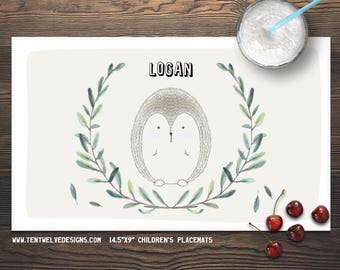 PORCUPINE Personalized Placemat for Kids - Children's Placemat, Kid's Gift, Party Decor & Favor, Fast Shipping - leaves, woodland animals