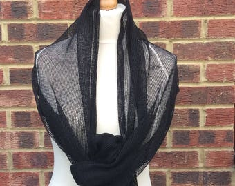 Black Linen Knit Shawl Mantilla. Fine Linen  Mourning Scarf. Goth Wedding Shawl . Black  Veil Stole. Catholic Orthodox  Worship Headscarf