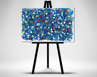 Bright Dots 2- Original Acrylic Mini Painting On Easel-Looks Great On Mantles,Coffee Tables,Dressers Can Be Framed For Wall Hangings.