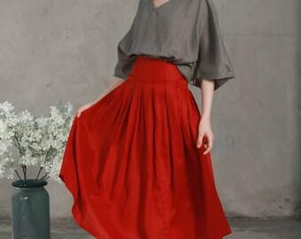 linen red skirt, maxi linen skirt,, maxi skirt,, linen skirt,, red skirt,prom skirt, pocket skirt, ruffle skirt, long linen skirt in red