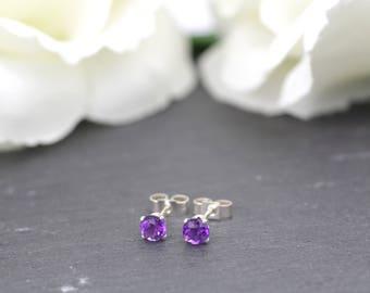 Sterling Silver Amethyst Stud Earrings, February Birthstone Earrings