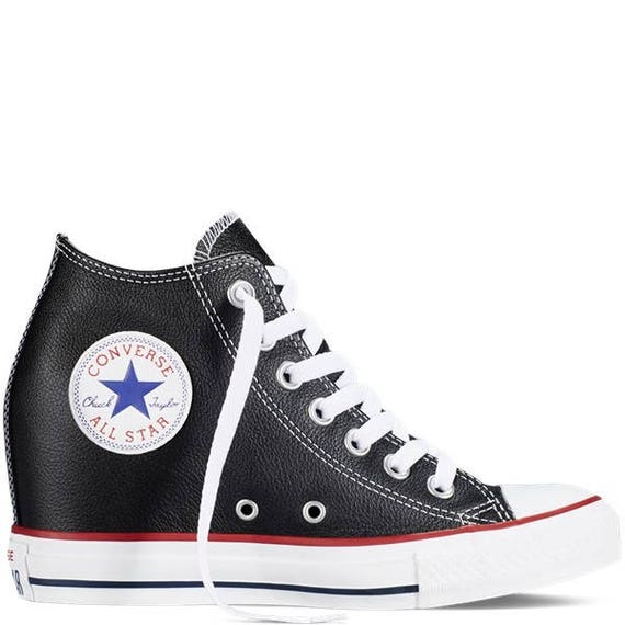 Ladies Custom Black Leather Converse Hi Lux Top Rise Wedge Heel w/ Swarovski Rhinestone Crystal Bling Chuck Taylor All Star Sneakers Shoes