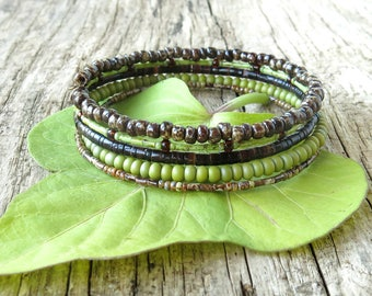Beaded bracelet stack - lime green & brown stacking  memory wire cuff shell and glass beads
