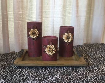 Wooden Candleholders (set of 3)  Red Glaze with Cream Flowers