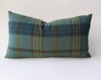 Ralph Lauren Lantern House Plaid Pillow Cover Sage/Teal
