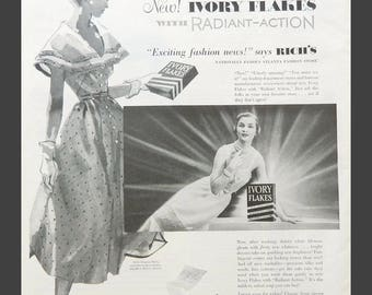 Laundry Wall Art - Ivory Flakes Vintage Ad - Ladies' Fashion Image for Laundry Room or Bedroom