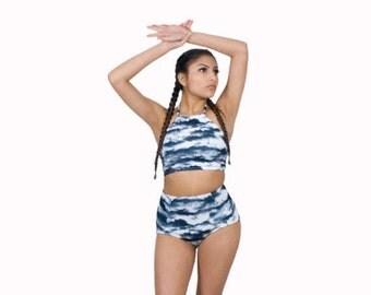 Cloudy Sky Crop Top Halter Swimsuit Tankini Retro Swimwear