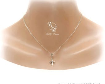 Cross Necklace Sterling Silver Cross Necklace Cross Charm Necklace Sterling Silver Necklace Everyday Necklace Gift for Her Religious Jewelry