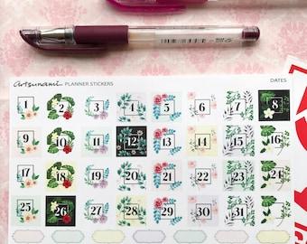 Dates Floral Planner Stickers Journal Scrapbooking Kiss Cut