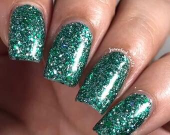 Salazar Nail Polish - green/silver matte glitter, Slytherin House