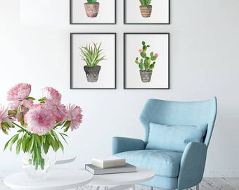 Cactus Wall Art PRINTABLE - Set of Four - Office Decor - Western - Succulent - Botanical - South Western Decor - Green Brown Pink - SKU:815