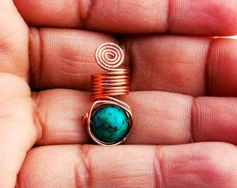 Dread Loc Jewelry Coil 1pc Dark Sea-green Bead