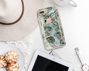 Blue Agate and Rose Gold Case Otterbox Symmetry iPhone 6 / iPhone 7 / iPhone 8 / iPhone X -Platinum Edition - Precious Stones Collection