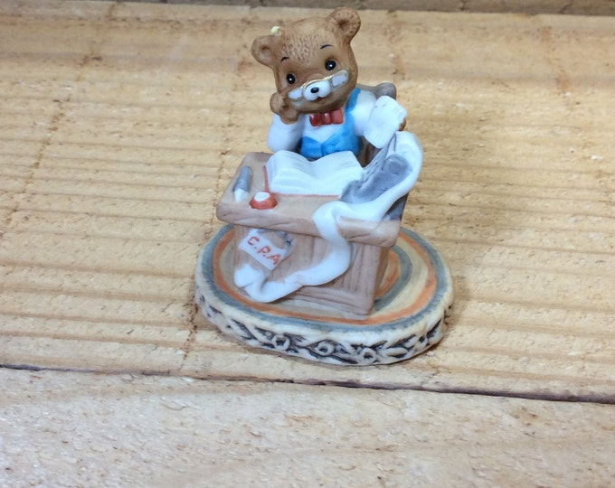 Honey Bears by Geo Z. Lefton Co 1983, CPA bear, perfect gift for the CPA, accountant in your life, Honey Bears 03586, bear figurine
