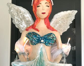 Mermaid Angel Tree Topper Coastal Beach Christmas Angel Tree Top Topper Lighted Christmas Tree Topper Beach Lover Gift Angel 27 INCHES LONG