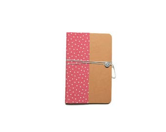 Notebook format A6 - pink pattern fabric stars