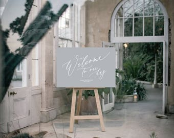 PRINT Welcome to our wedding Sign - Calligraphic style