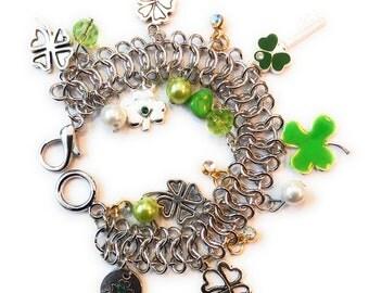St. Patrick's Day Bracelet, Irish Bracelet, St. Patrick's Day Jewelry, St Patrick's day Gift, Irish Gift, Claddagh, Shamrock, Celtic Knot