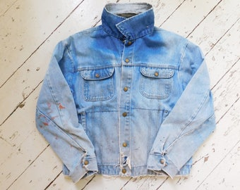 Early Vintage, Key Imperial, Worn Cotton Denim, Blue, Jean Jacket, Size L, Made in USA