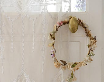 Stunning Antique French Millinery Flower Crown Garland Shabby Boho