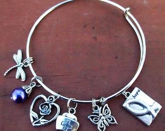Purple Awareness Hope Ribbon Bangle Charm Bracelet Pancreatic Cancer ADHD Fibromyalgia Crohn's Disease ADD Epilepsy