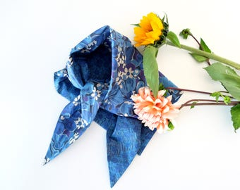 Blue floral Liberty prints cotton scarf neckerchief in two flower motifs, ocean blue hues, reversible triangle scarf