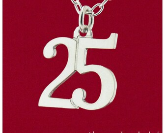 """Custom Double 2 Digit Number """"Pretty Stylish"""" Font Birthday, Year, Uniform Pendant 925 Sterling Silver Personalized Jewelry - Charm Only"""