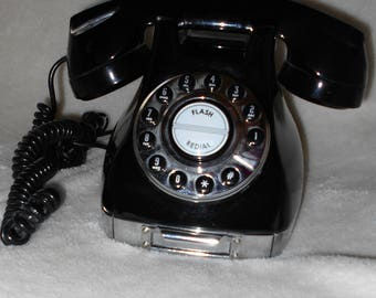 Vintage Telephone Classic Black Push Button Corded Phone