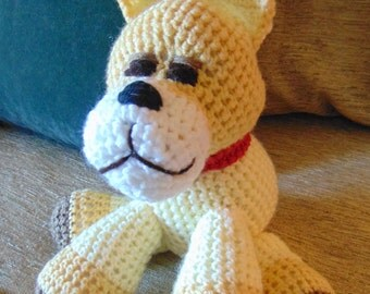 "Crocheted  French Bulldog puppy dog stuffed animal doll toy  ""Quincy"""