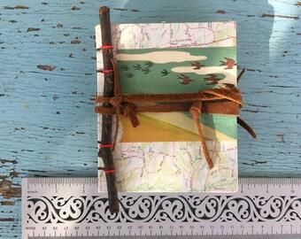 Handbound Journal, junk journal, prayer journal, recycled upcycled paper, travel, nature, birds