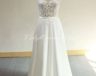 Romantic A line ivory chiffon lace wedding dress, beach wedding dress with capsleeves and open back