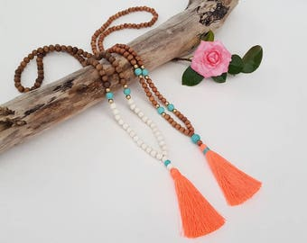 Neon Coral beaded tassel necklace  -  Long boho wooden bead tassel necklace with turquoise feature beads and coral tassel
