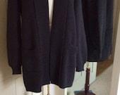 The Classic Alpaca Black Coat,Black alpaca blend Cardigan,My Peruvian Treasures,3/4 lenght alpaca coat sweater,Peruvian alpaca black sweater