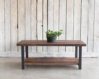 coffee table with lower shelf industrial reclaimed wood coffee table walnut finish and steel