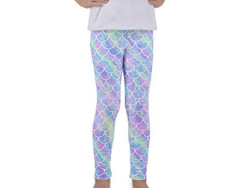 Mermaid Leggings, Toddler leggings, Kids Leggings, Girls Leggings, Scale Leggings, Under The Sea Leggings, Mermaid Scales, Fish Scales,