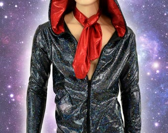 Mens Long Sleeve Black Shattered Glass Holographic Front Zipper Rooster Hoodie Shirt with Red SJ Lined Hood & Ascot Rave Chicken - 155113