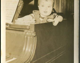 Vintage Snapshot Photo of Baby Inside of Piano 1940's, Original Found Photo, Vernacular Photography
