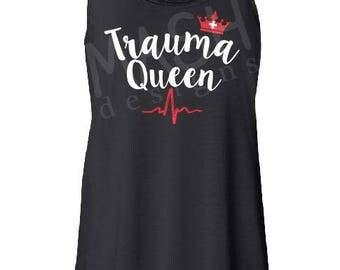 Trauma Queen nurse tank top, trauma nurse, gift for ER nurse, nurse appreciation, gift for nurse, nurse gift, graduation gift, glitter, RN