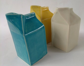 Ceramic Milk Carton, Creamer, pottery creamer, blue creamer, white creamer, yellow creamer, milk carton vase, bud vase, ceramic vase