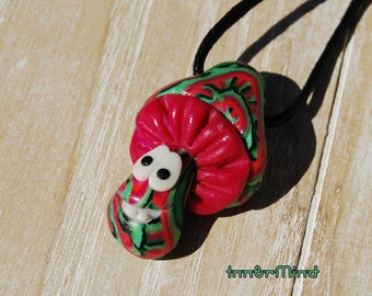 Fluorescent Happy Mushroom Necklace Psychedelic that glows in uv blacklight handmade clay
