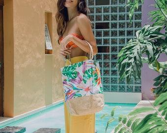 Personalized beach bag / hibiscus print / tropical tote bags / summer tote handbags / tropical wedding reception