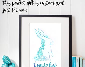 Personalized Watercolor Rabbit Print