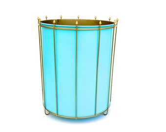 Mid-Century Modern Turquoise & Gold Metal Richard Galef Waste Basket | Atomic Era Planter | Large Retro Floating Trash Can