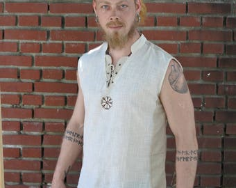 Viking Sleveless Shirt, Norse Shirt, Viking Shield, Pagan, Ozora, Boom, Viking man, Ragnar, Re-enactment, Earthy, Celtic.