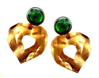 YVES SAINT LAURENT ~ Authentic Vintage Gorgeous Gold Plated Hearts Clip On Earrings - Goossens