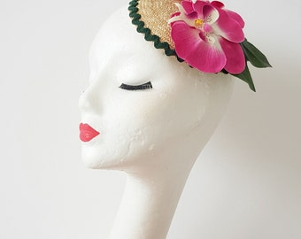 New Collection Spring 2018 Fascinator Straw Hat 1940's 1950's Vintage Inspired Pin Up Rockabilly Pink Orchid Elsa Schiaparelli