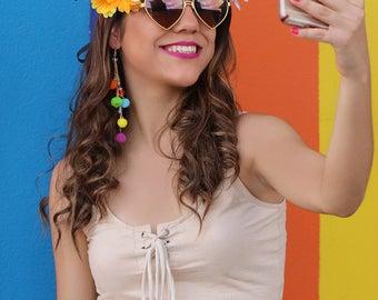 Snap Filter Headpiece (Music Festival Flower Crown Headband Fairy Costume Faerie Easy Costume Selfie Snap App Chat Halo Halloween Costume)