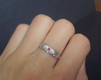 Vintage Edwardian Ruby Engagement Ring, White Gold Diamond Ruby Wedding Band, Art Deco Style Engagement
