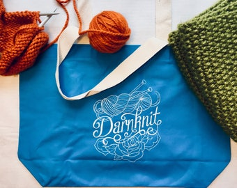 Darnknit Embroidered Tote Bag, Knitting Bag, Gifts for Knitters, Yarn Bag, New Vintage Embroidery