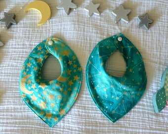 Teal and Gold Star and Constellation Bibs-Baby Bandana Bibs-STEM for girls-Gold Stars and Moons--Space Bibs-Galaxy Bibs-Star Bibs-Moon Bibs